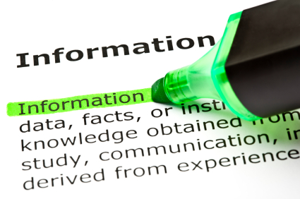"Image of the word ""information"" highlighted in green"