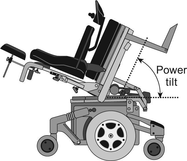 power tilt wheelchair at 65 degree recline