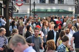 crowded street of people