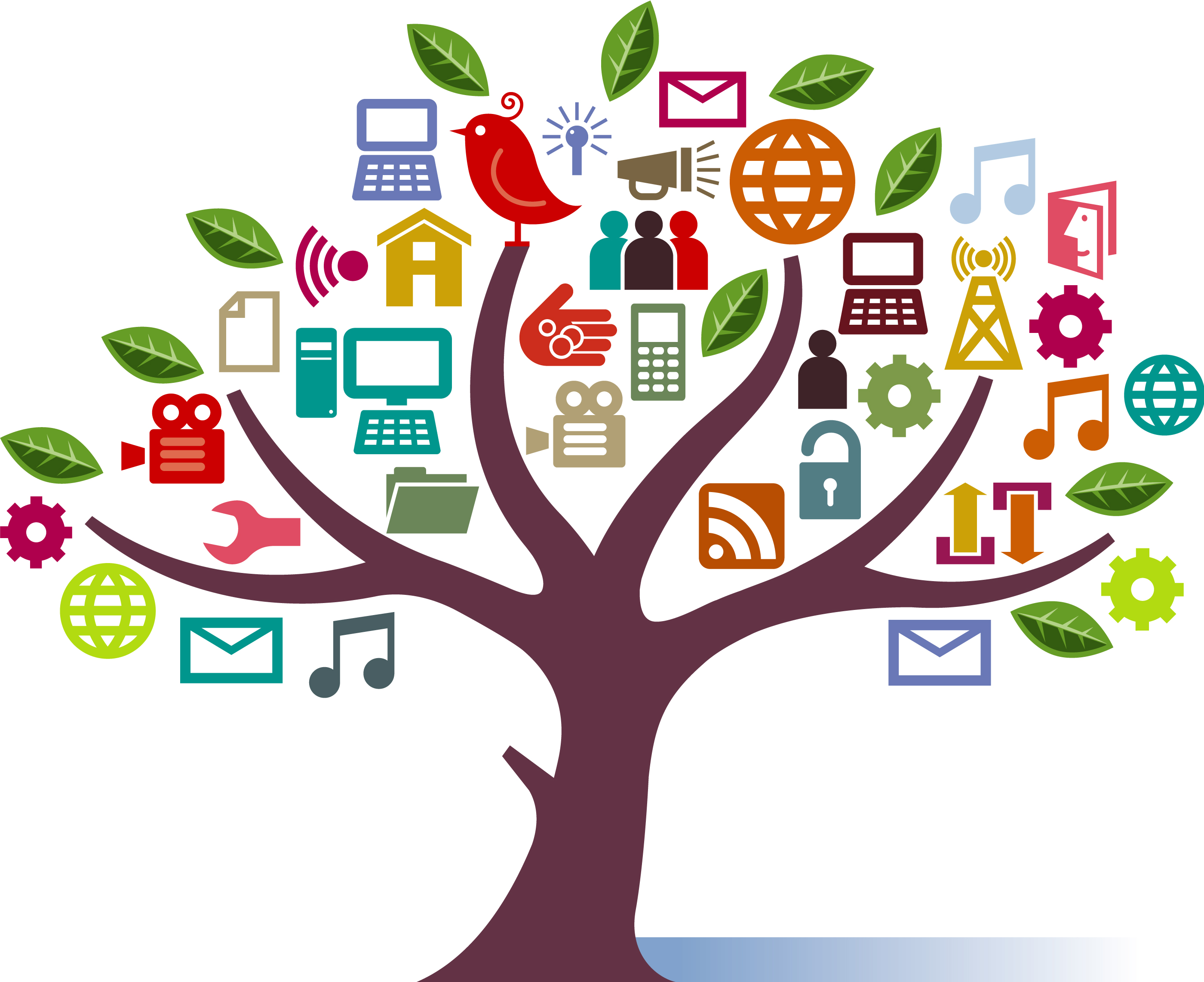 Drawing of a tree covered in social media, communication and web design icons