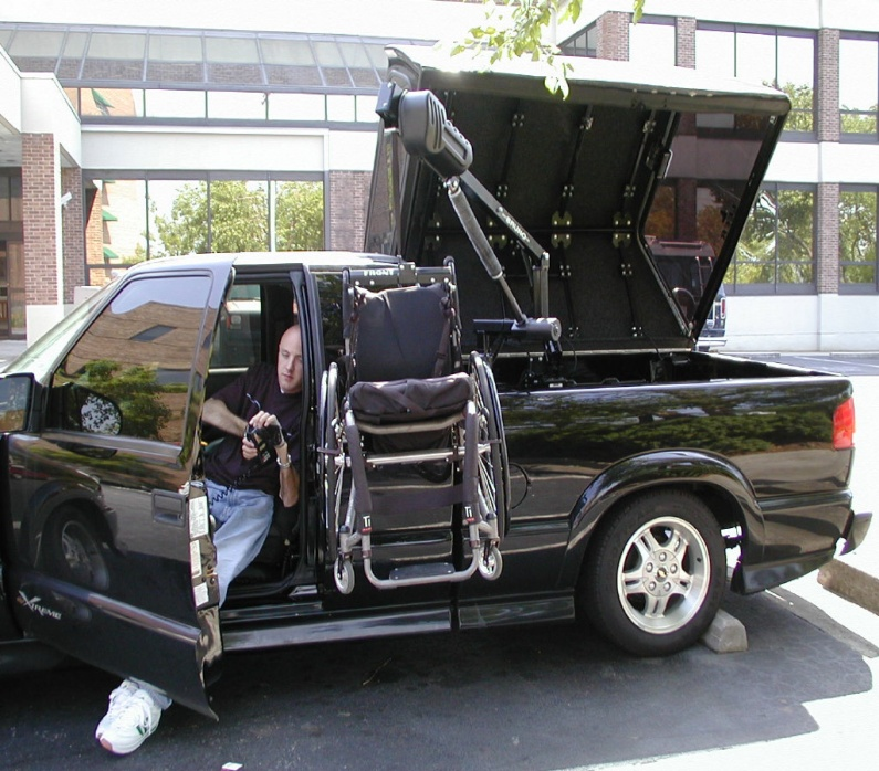 Photo shows a wheelchair lift for a pickup truck. Photo courtesy of Shepherd Center.