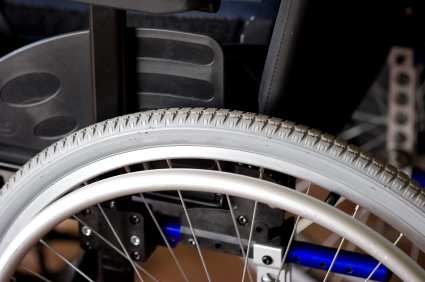Close-up of wheelchair
