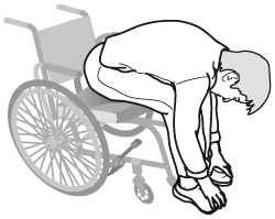 person leaning forward in wheelchair