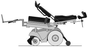 power recline wheelchair in recline