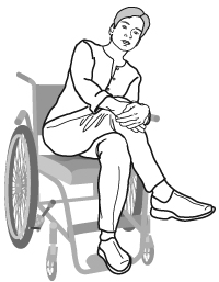 person relaxing in wheelchair