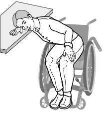 person leaning in wheelchair against table