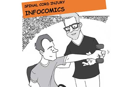Text: Spinal Cord Injury Infocomics; Image: therapist helping man with SCI lift a weight