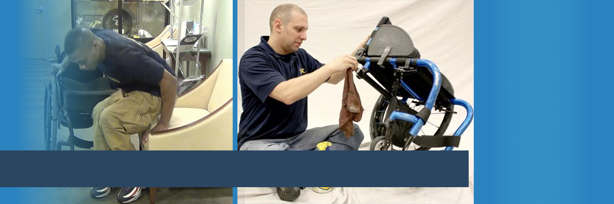 Man transferring from chair to wheelchair; man maintaining wheelchair