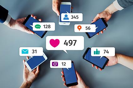 Social media on phones