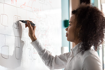 Woman creating a strategy on a whiteboard