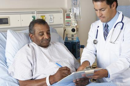 Clinician speaking with patient