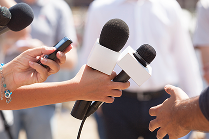 Microphones pointing at person in interview